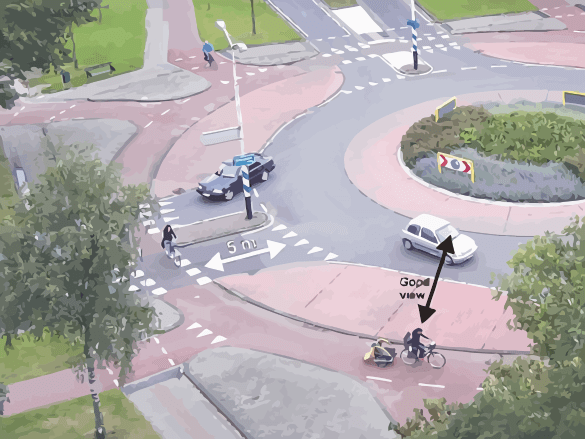 Roundabout with Bike Path
