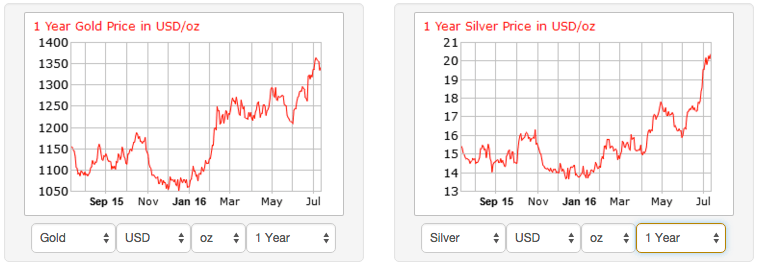1 Year Gold and Silver Prices