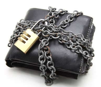 Wallet With Lock and Chain