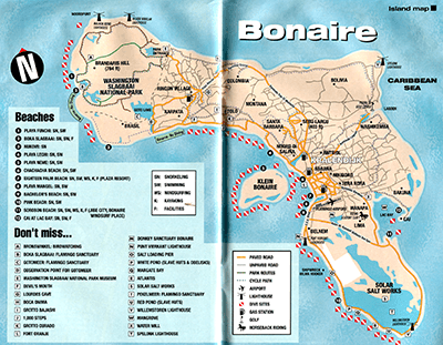 Bonaire Map with Beaches and Activities