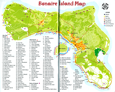 Bonaire Map with Dive Sites