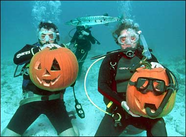 Two Scuba Divers and Two Pumpkins