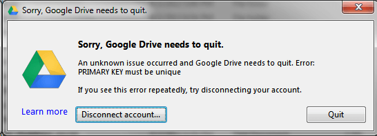 Google Drive: Primary Key Must Be Unique