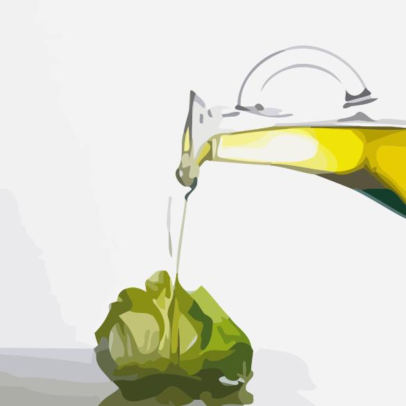Olive Oil Poured on Lettuce