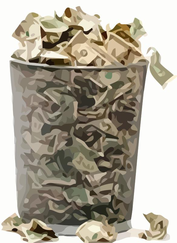 Money in Waste Basket