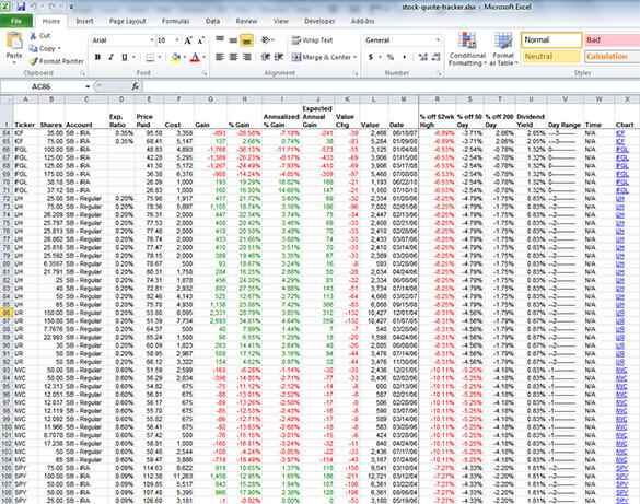 Screenshot of Excel Stock Tracker