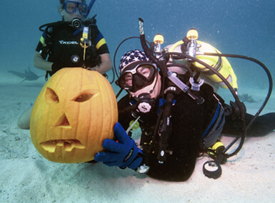 Two Scuba Divers and One Pumpkin